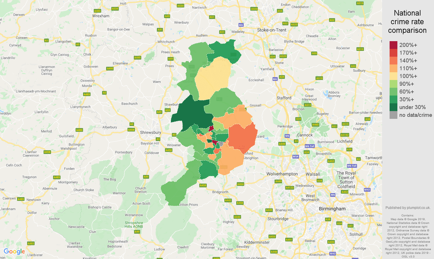 Telford other theft crime rate comparison map