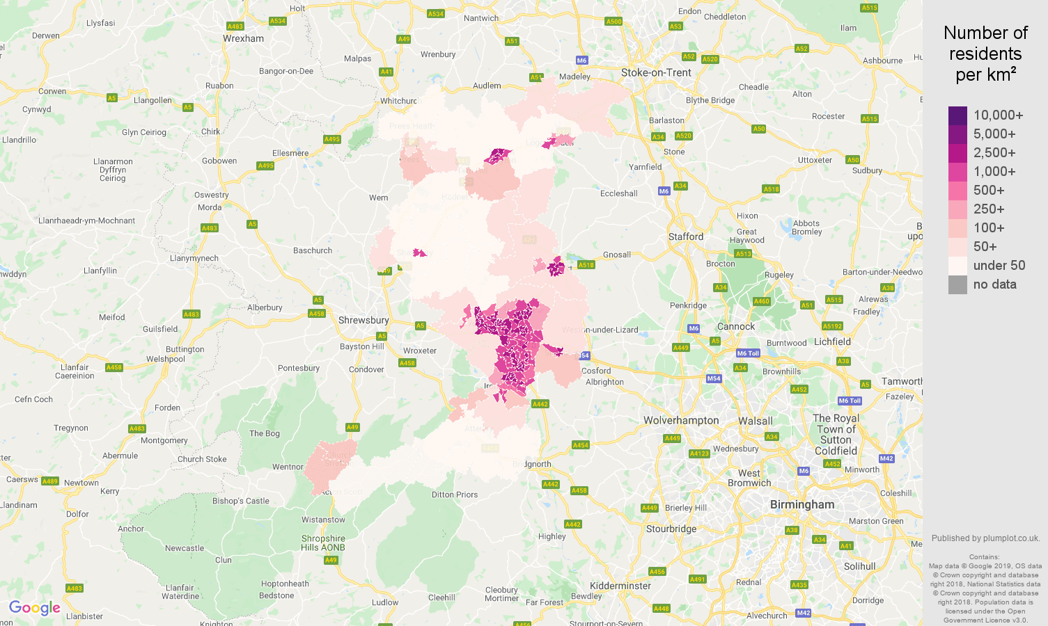 Telford population density map