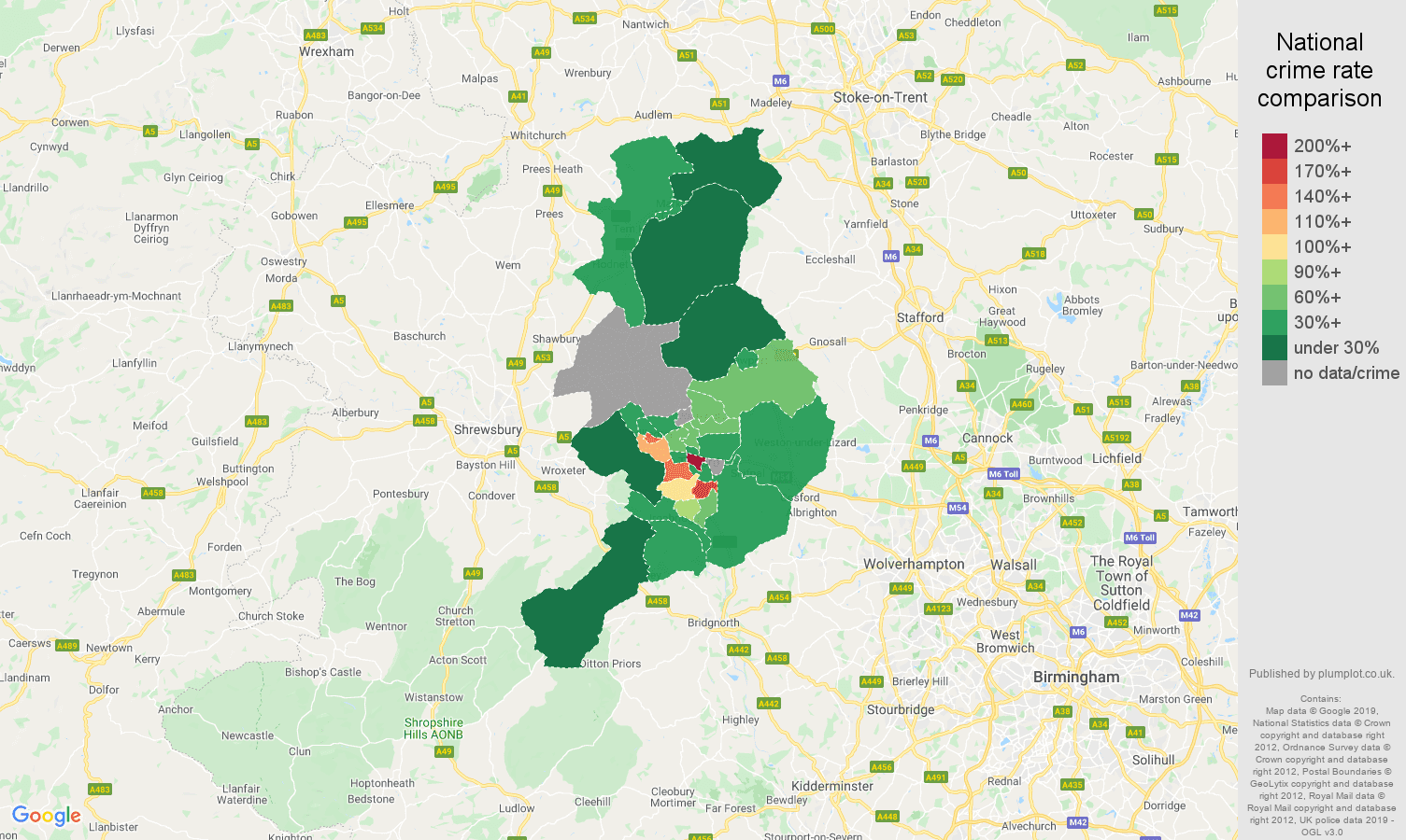 Telford public order crime rate comparison map