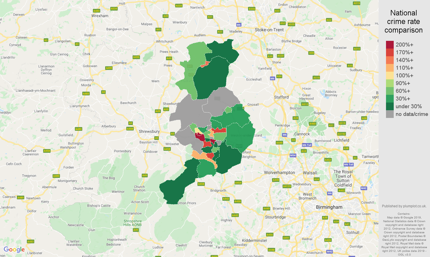 Telford shoplifting crime rate comparison map