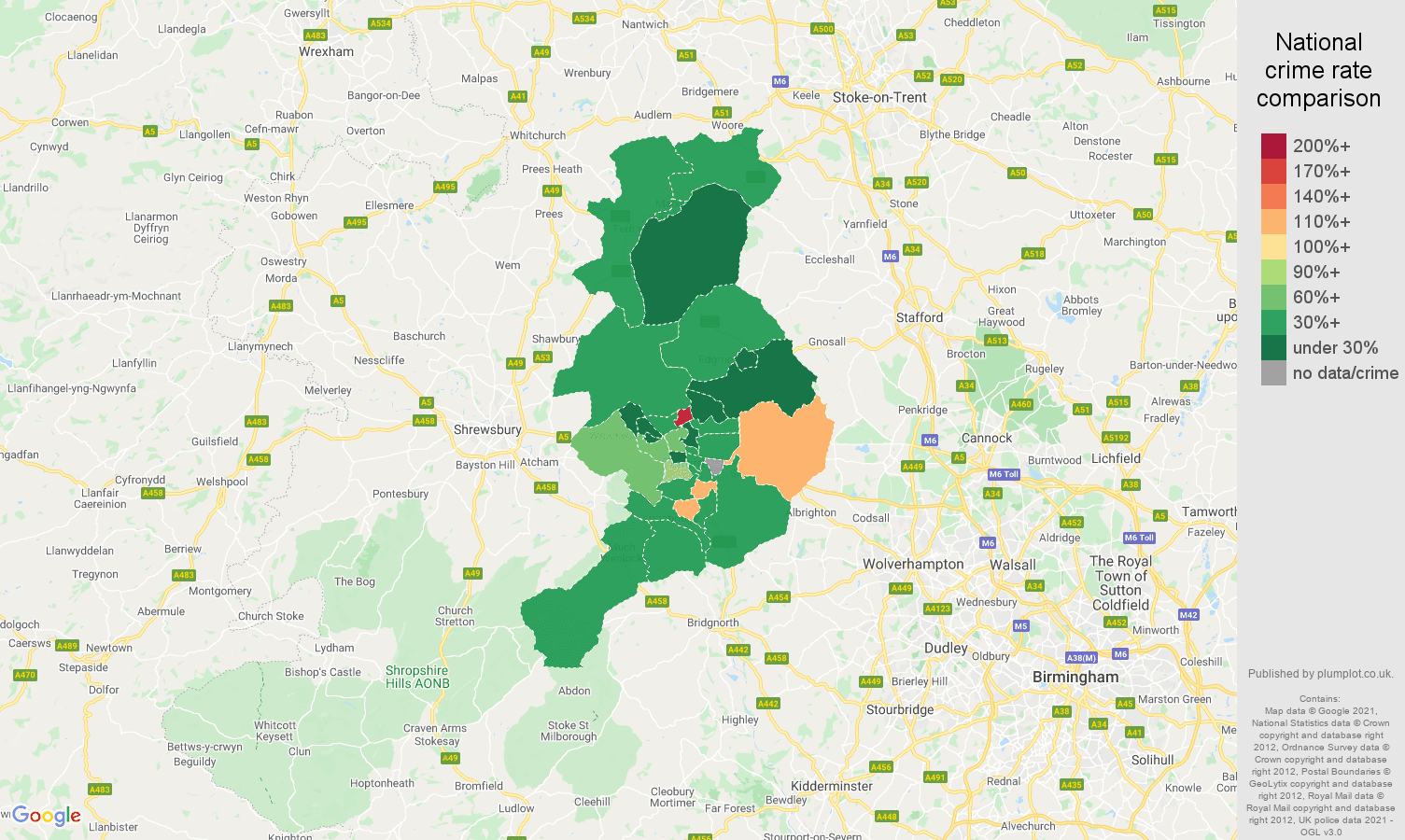 Telford vehicle crime rate comparison map