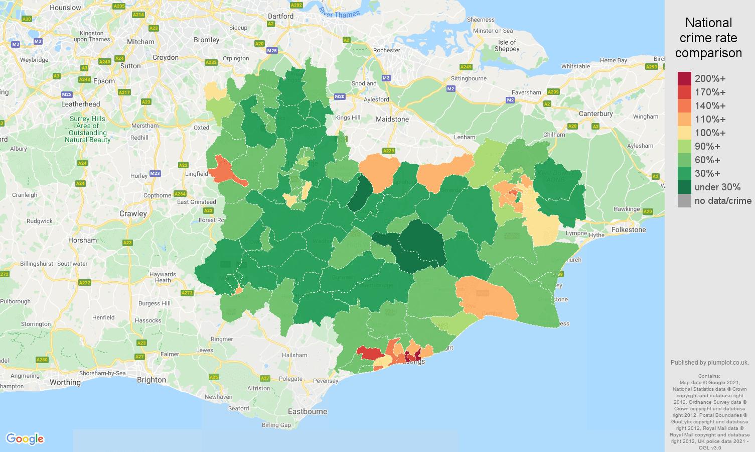 Tonbridge antisocial behaviour crime rate comparison map