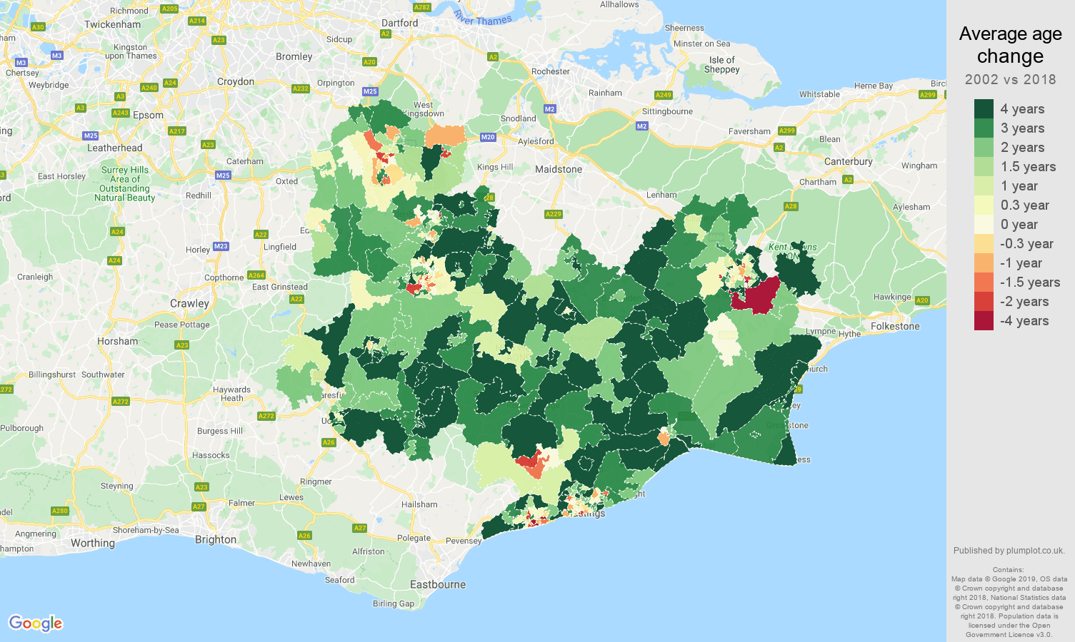 Tonbridge average age change map