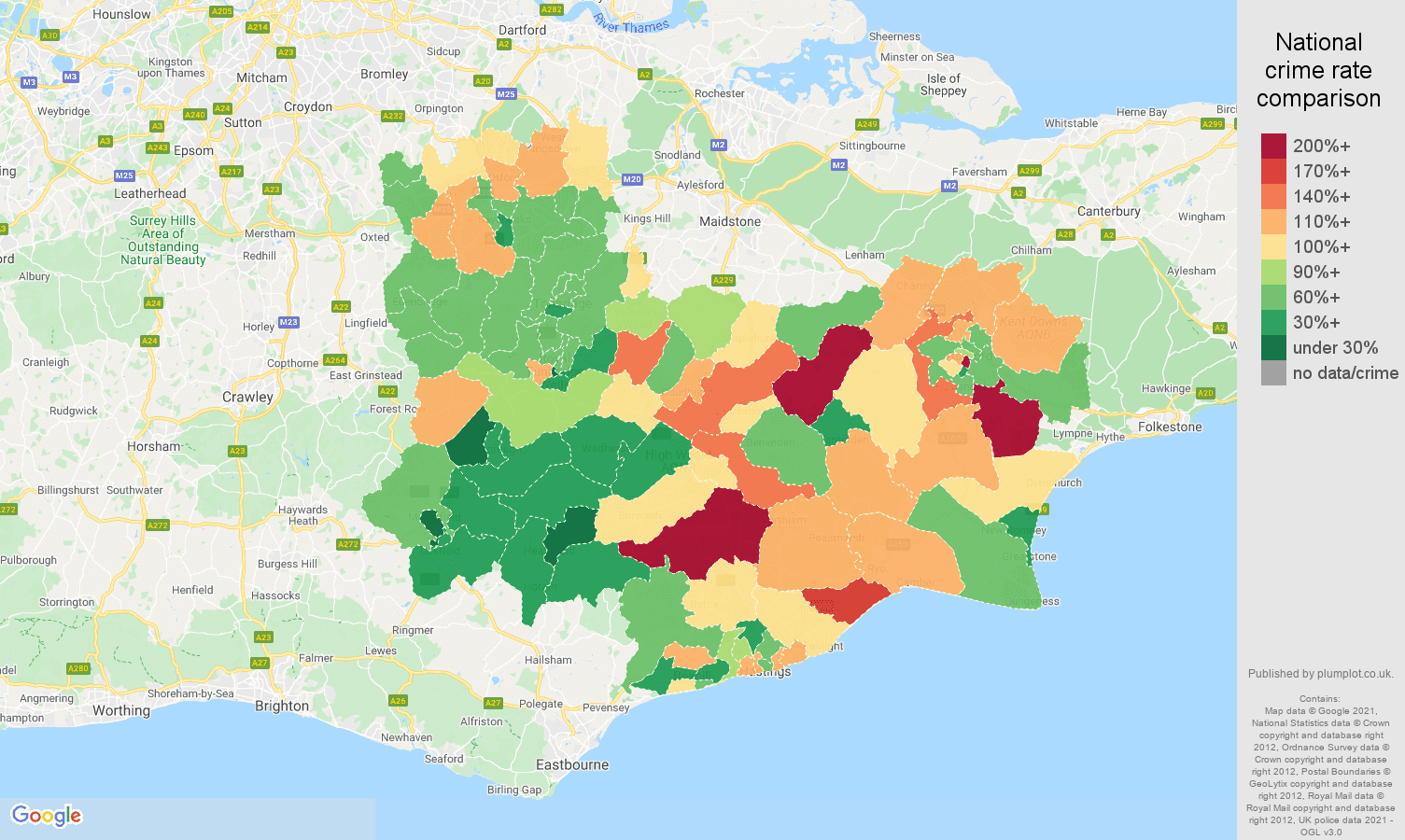 Tonbridge burglary crime rate comparison map