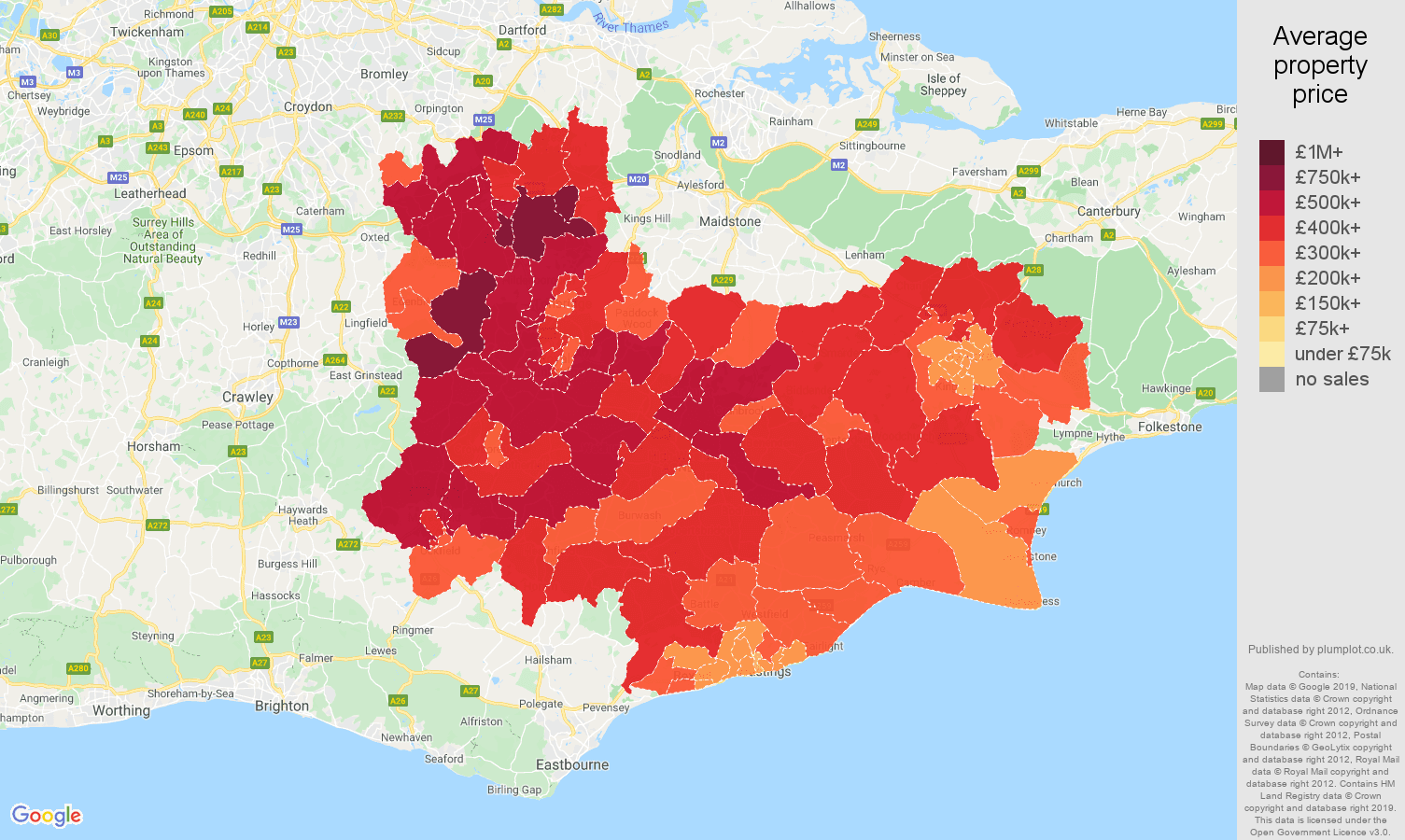 Tonbridge house prices map