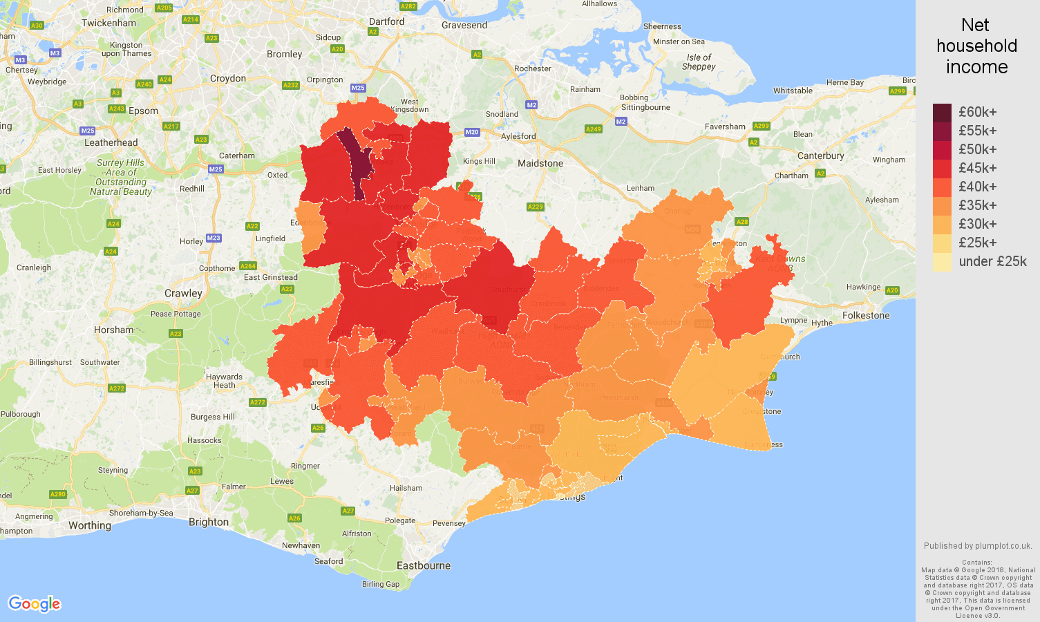 Tonbridge net household income map