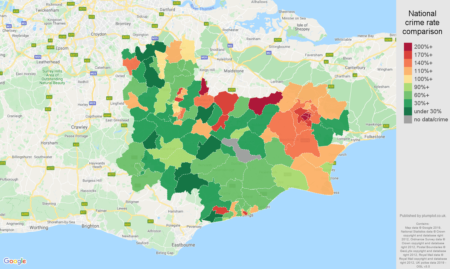 Tonbridge other crime rate comparison map