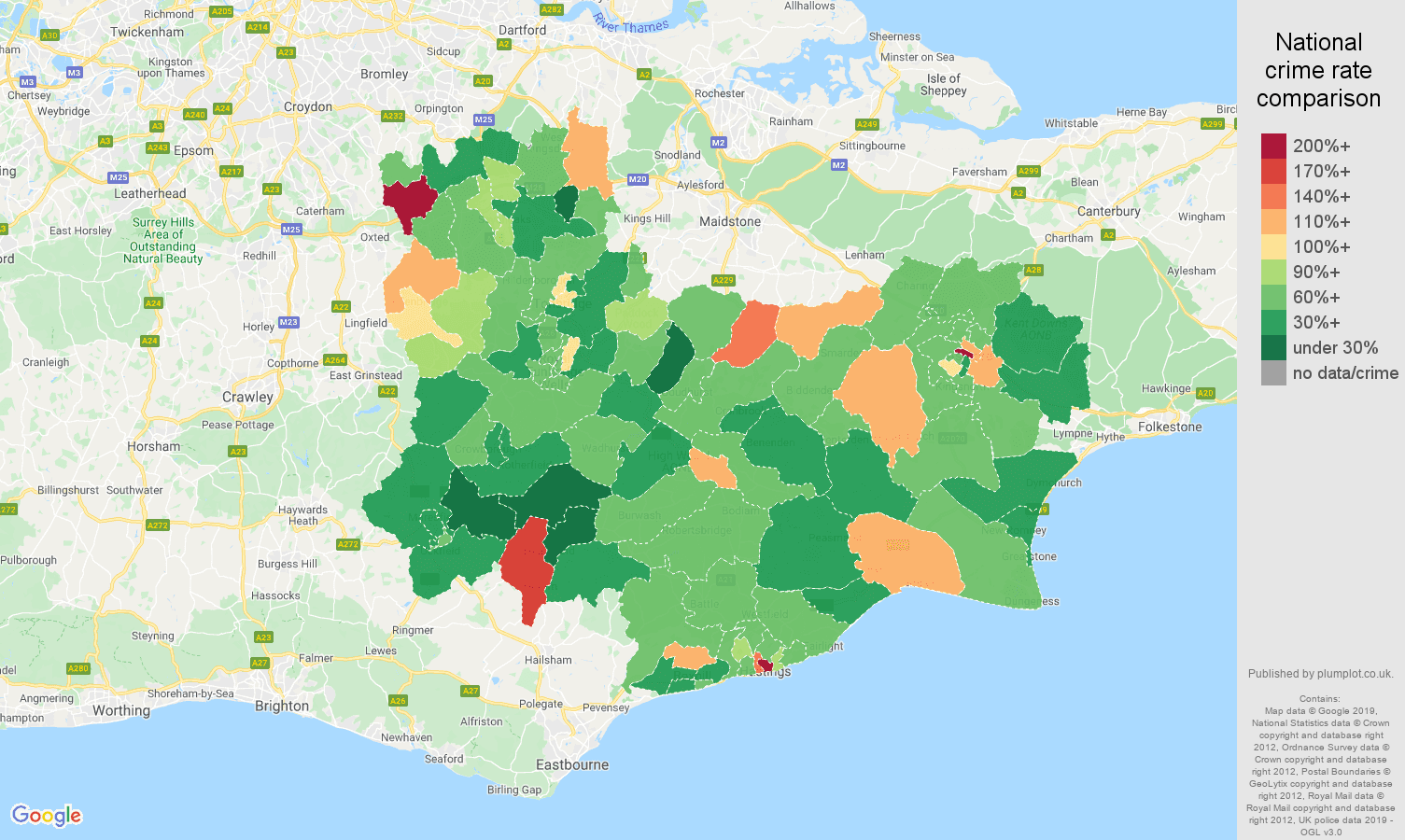 Tonbridge other theft crime rate comparison map