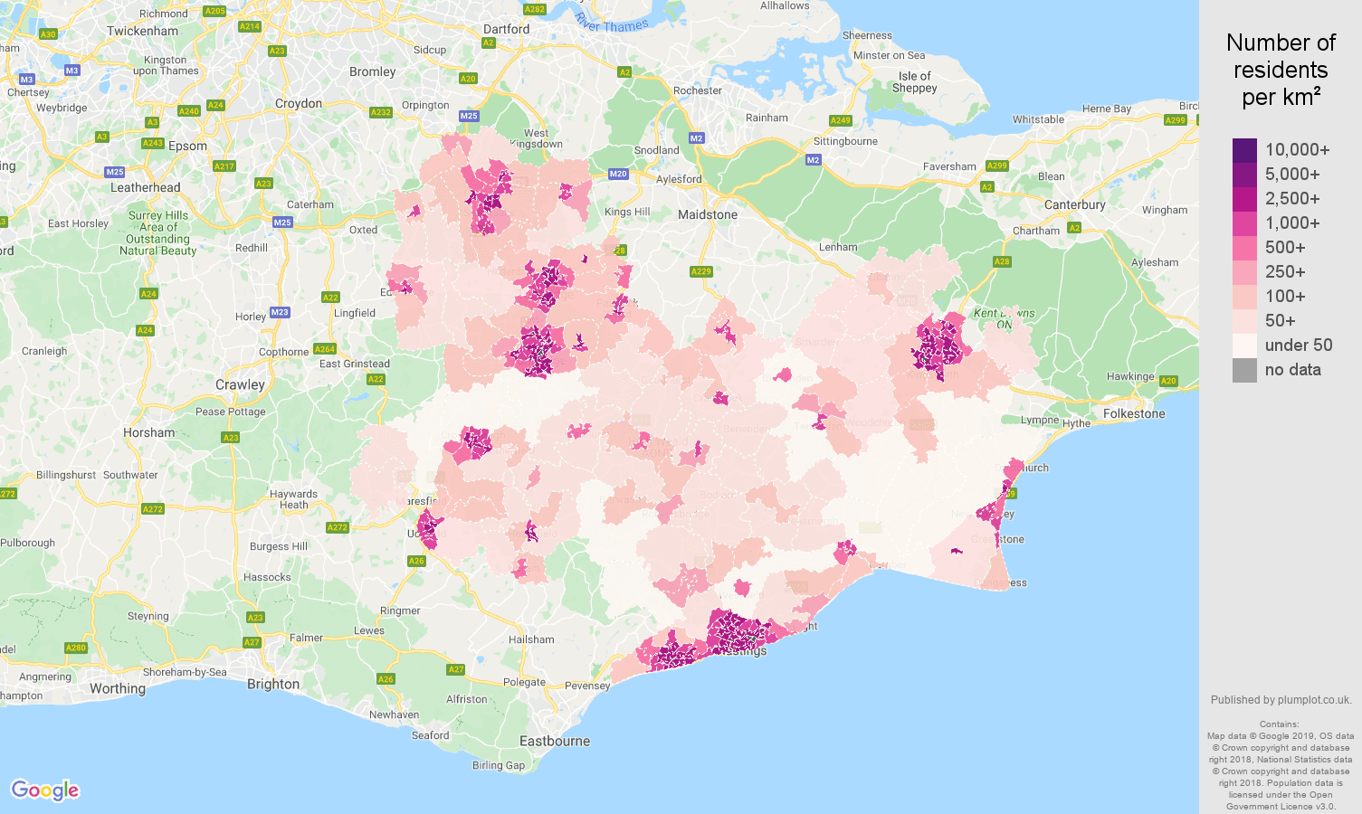 Tonbridge population density map