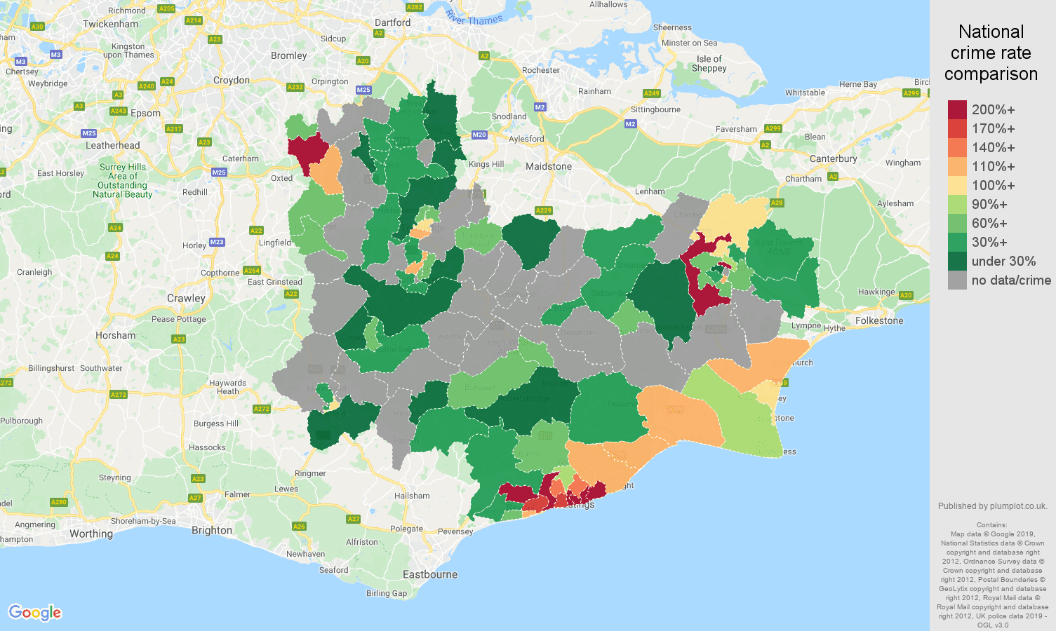 Tonbridge possession of weapons crime rate comparison map