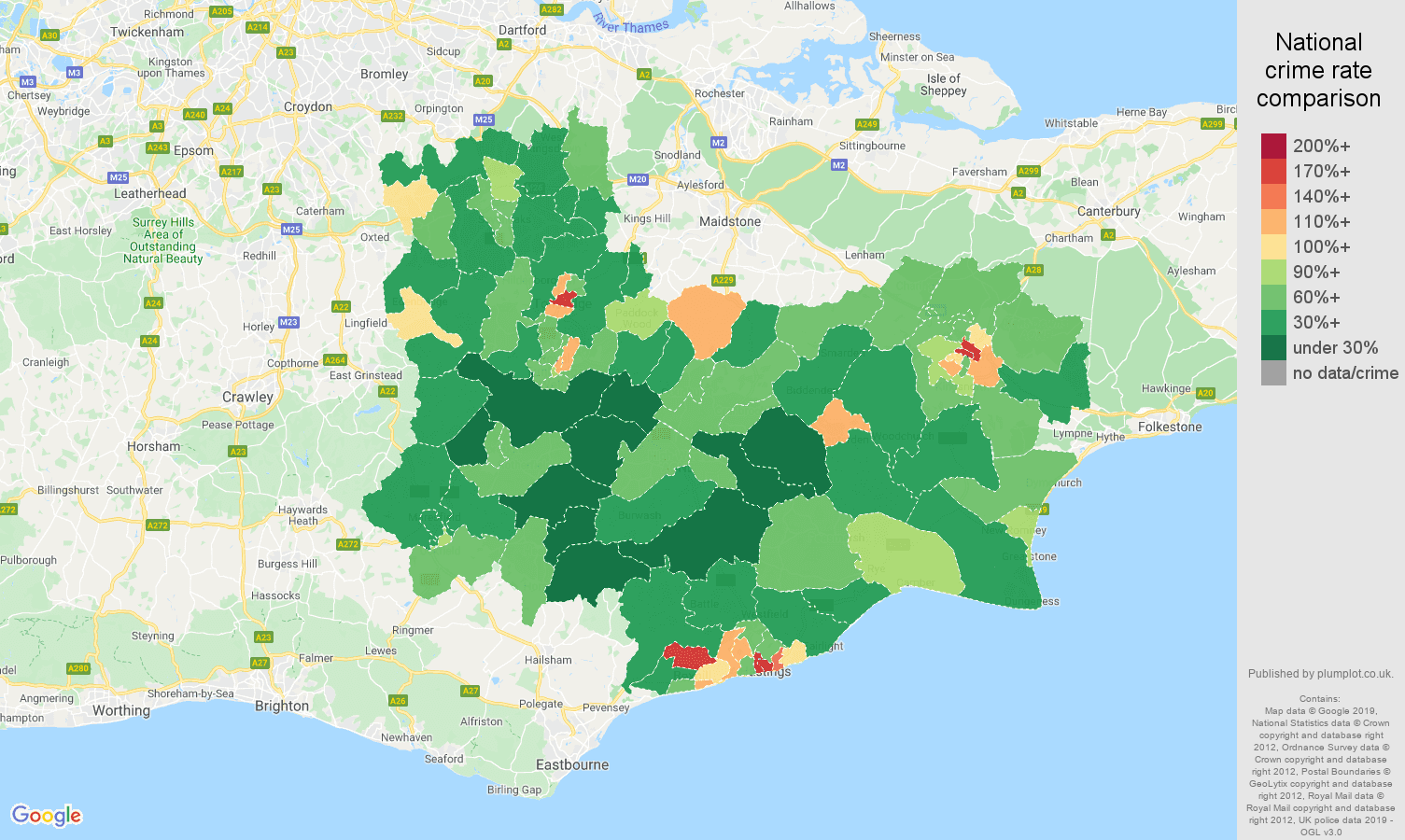 Tonbridge public order crime rate comparison map
