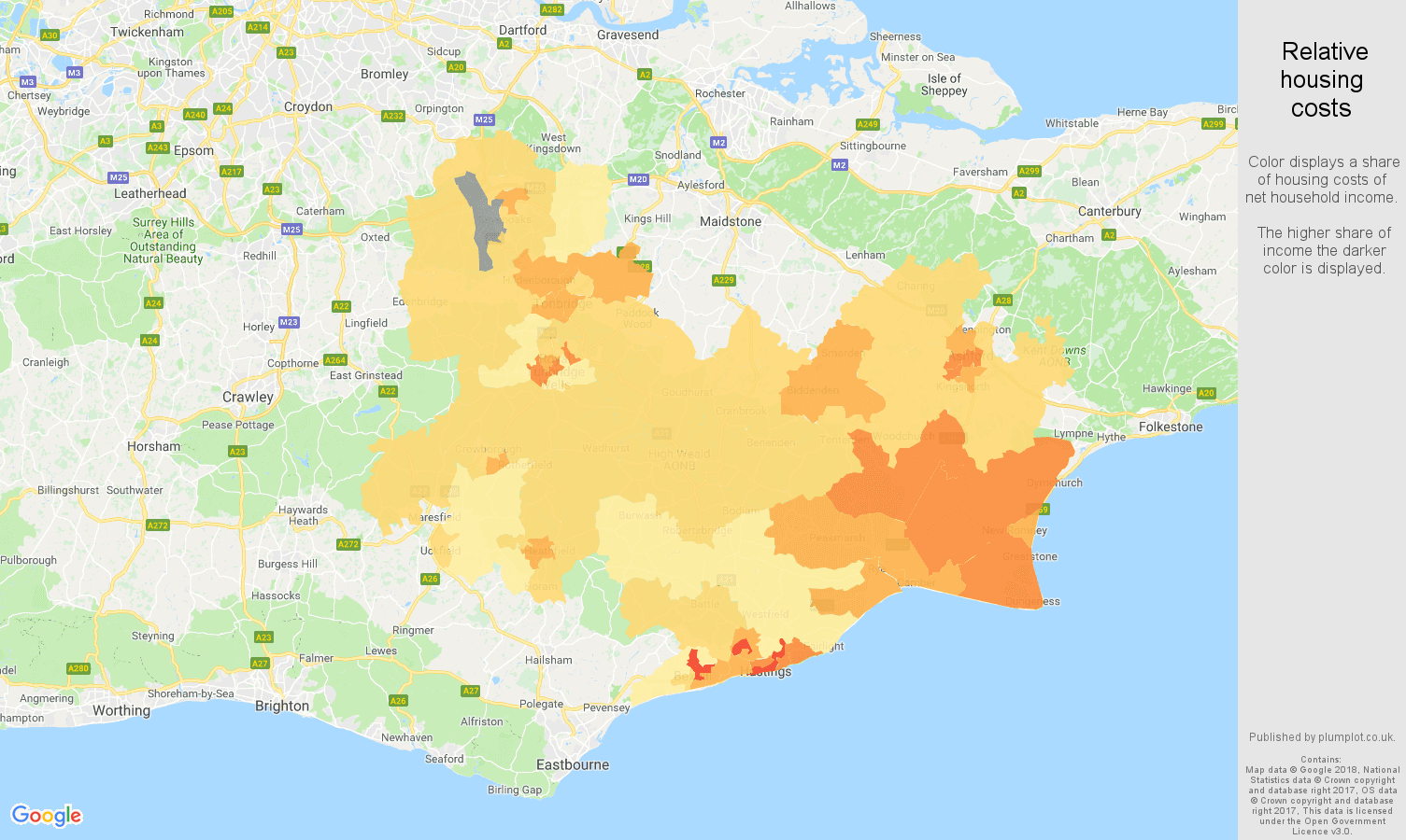 Tonbridge relative housing costs map