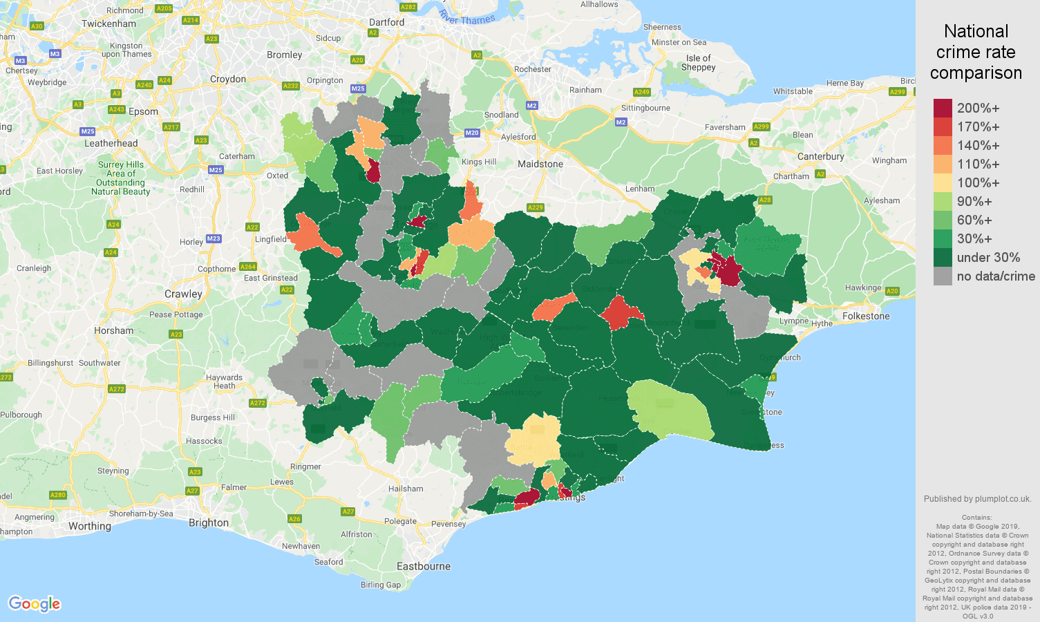 Tonbridge shoplifting crime rate comparison map