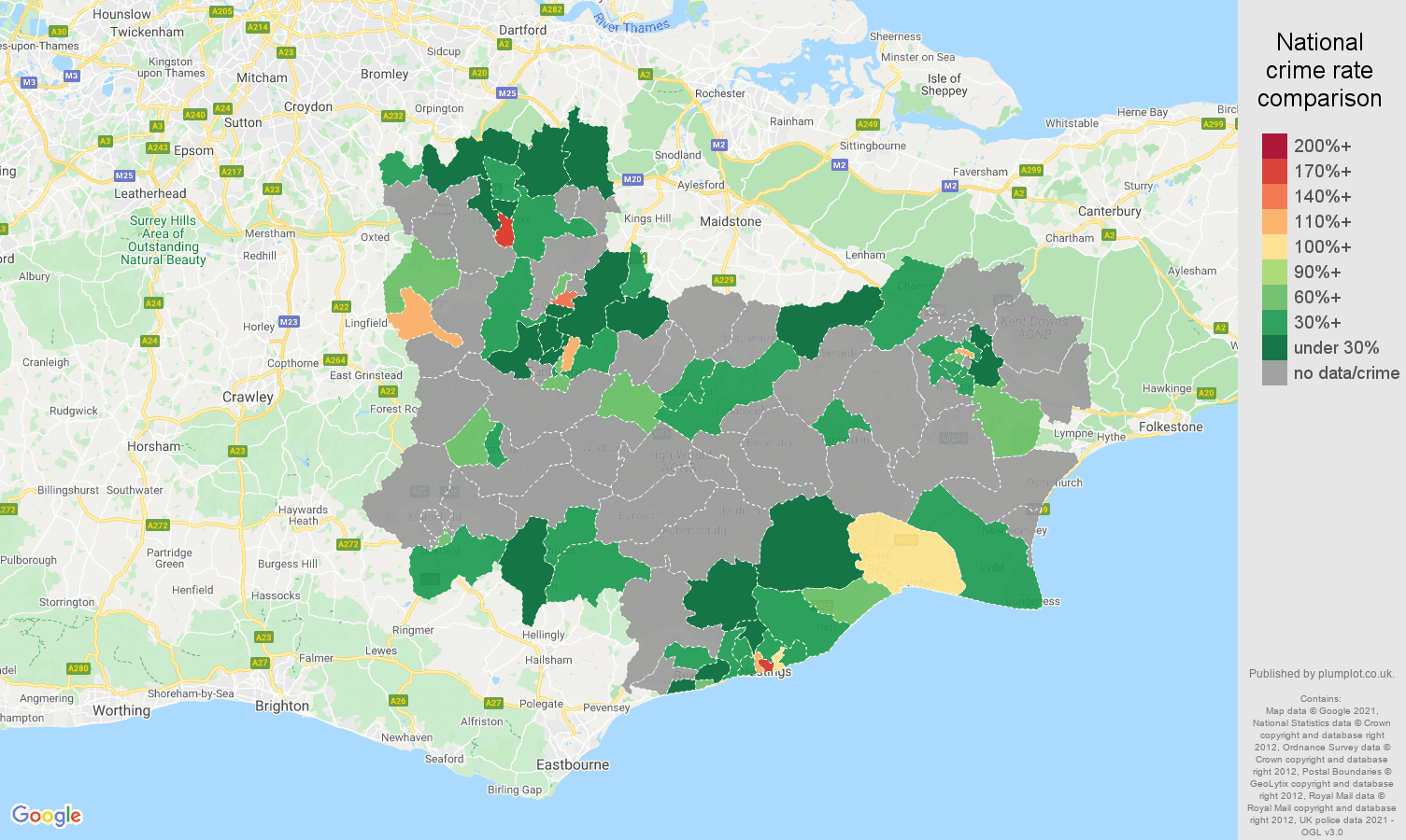 Tonbridge theft from the person crime rate comparison map