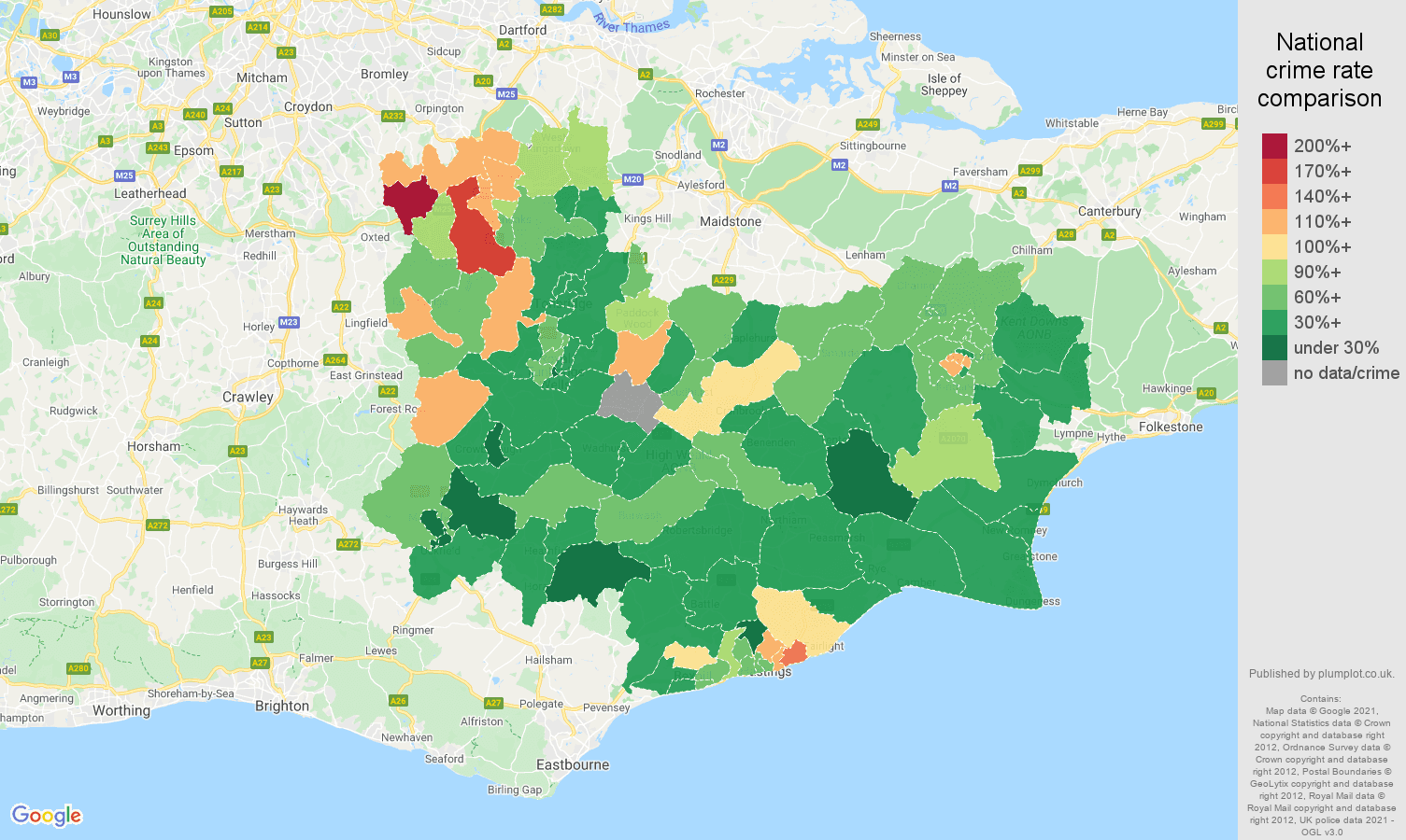 Tonbridge vehicle crime rate comparison map