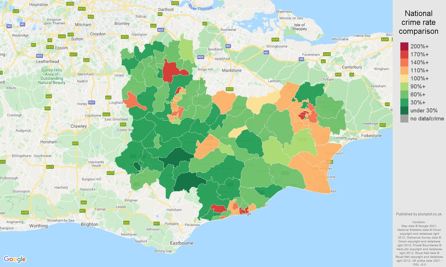 Tonbridge violent crime rate comparison map
