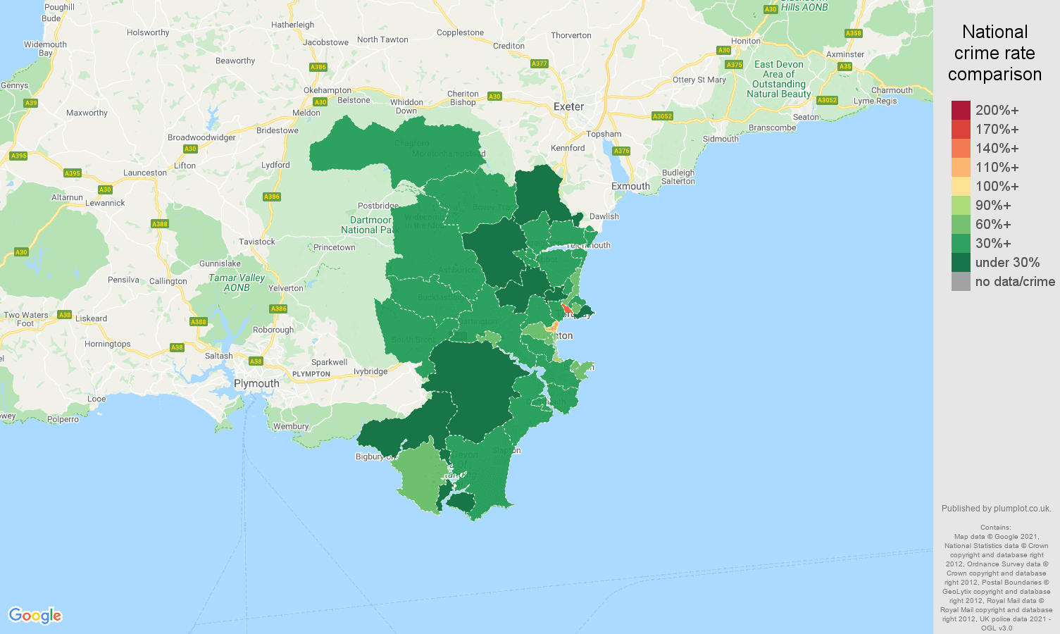 Torquay burglary crime rate comparison map