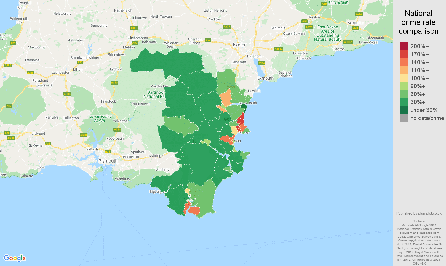Torquay criminal damage and arson crime rate comparison map
