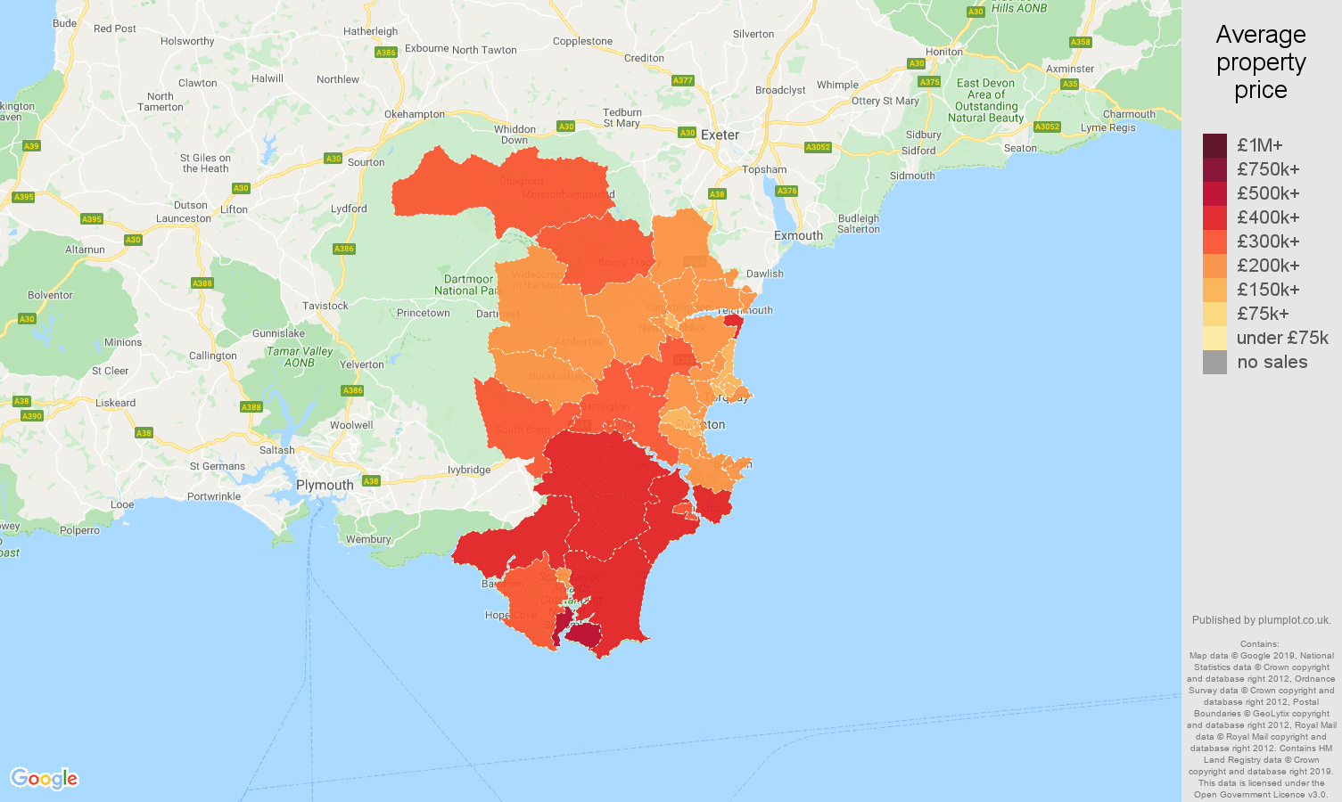 Torquay England Map.Torquay House Prices In Maps And Graphs