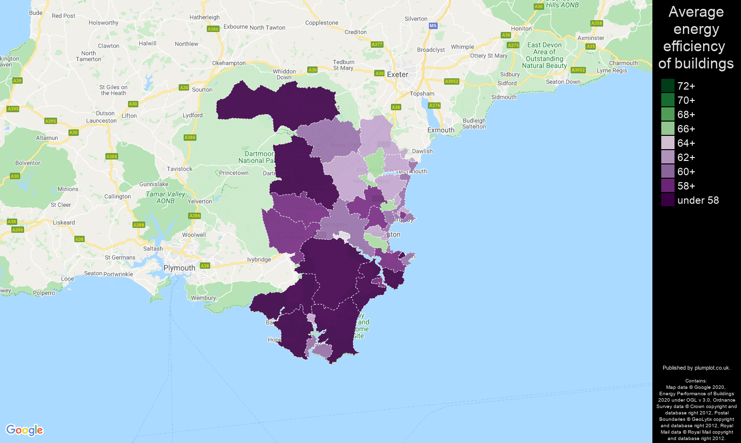 Torquay map of energy efficiency of properties
