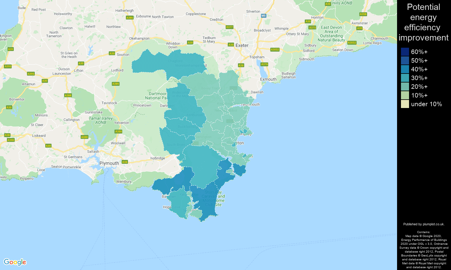 Torquay map of potential energy efficiency improvement of houses
