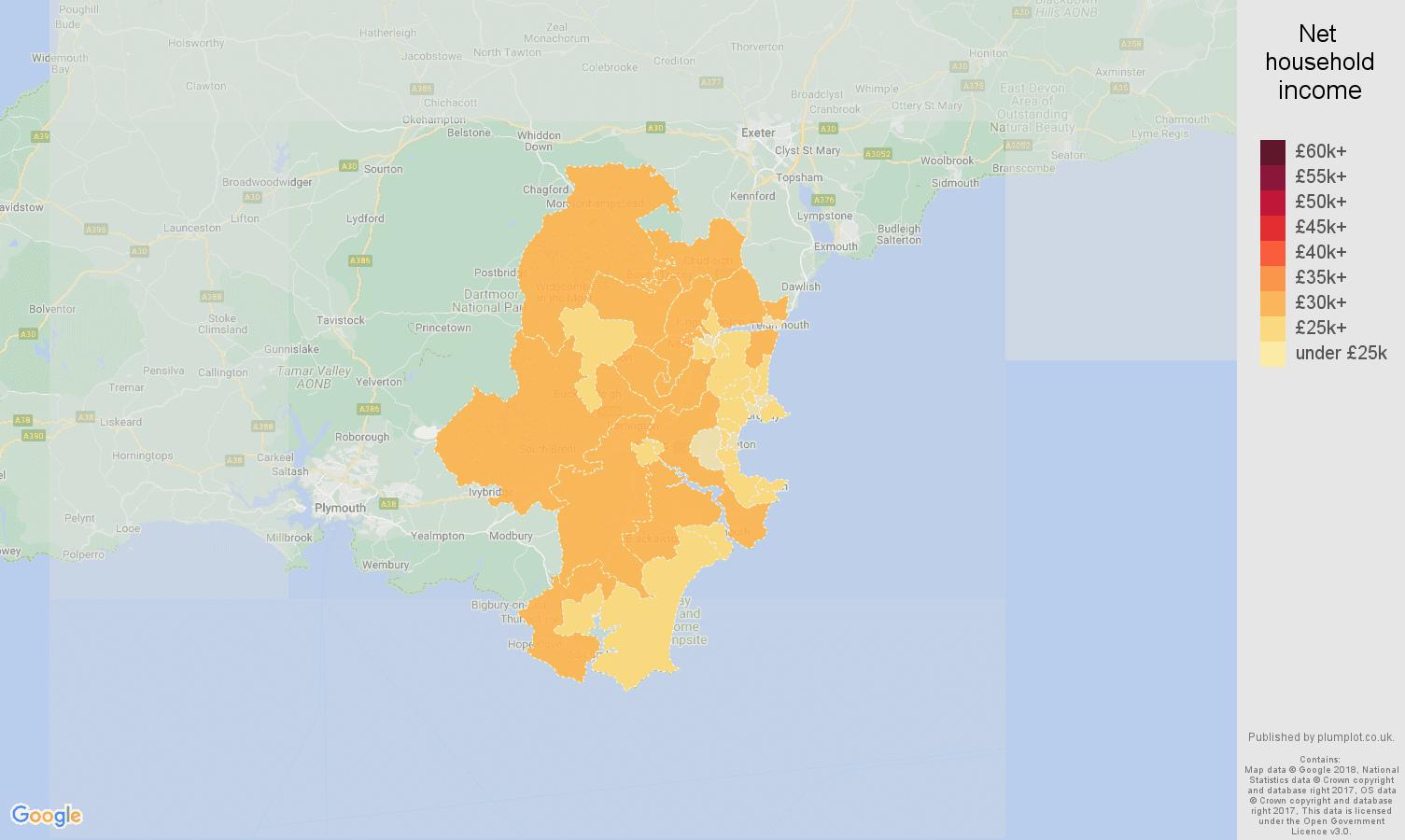 Torquay net household income map