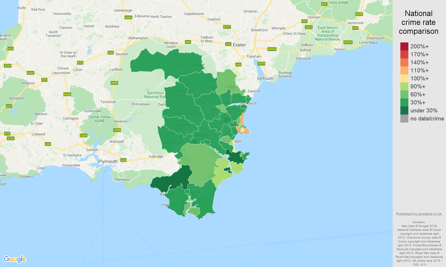 Torquay other theft crime rate comparison map