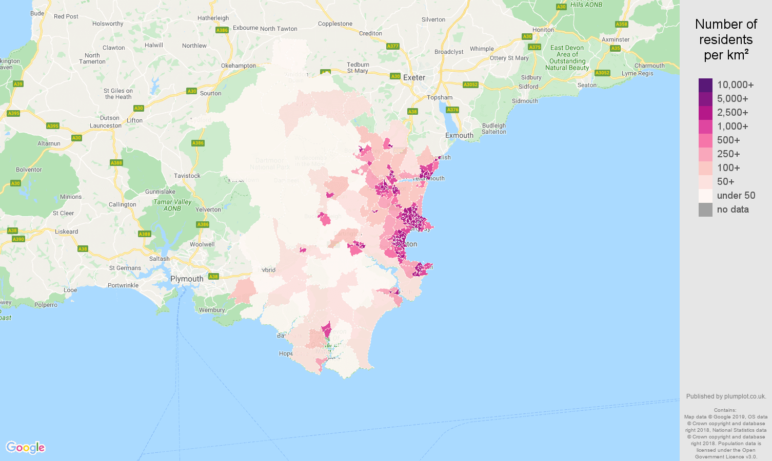 Torquay population density map
