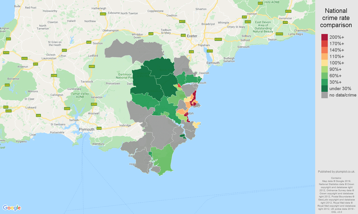 Torquay possession of weapons crime rate comparison map