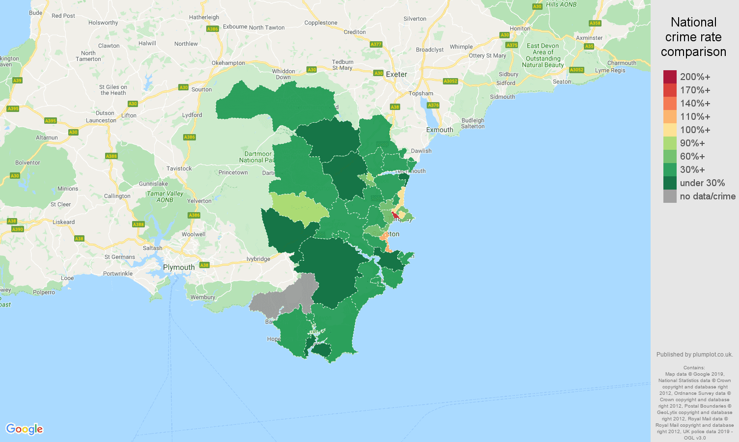 Torquay public order crime rate comparison map