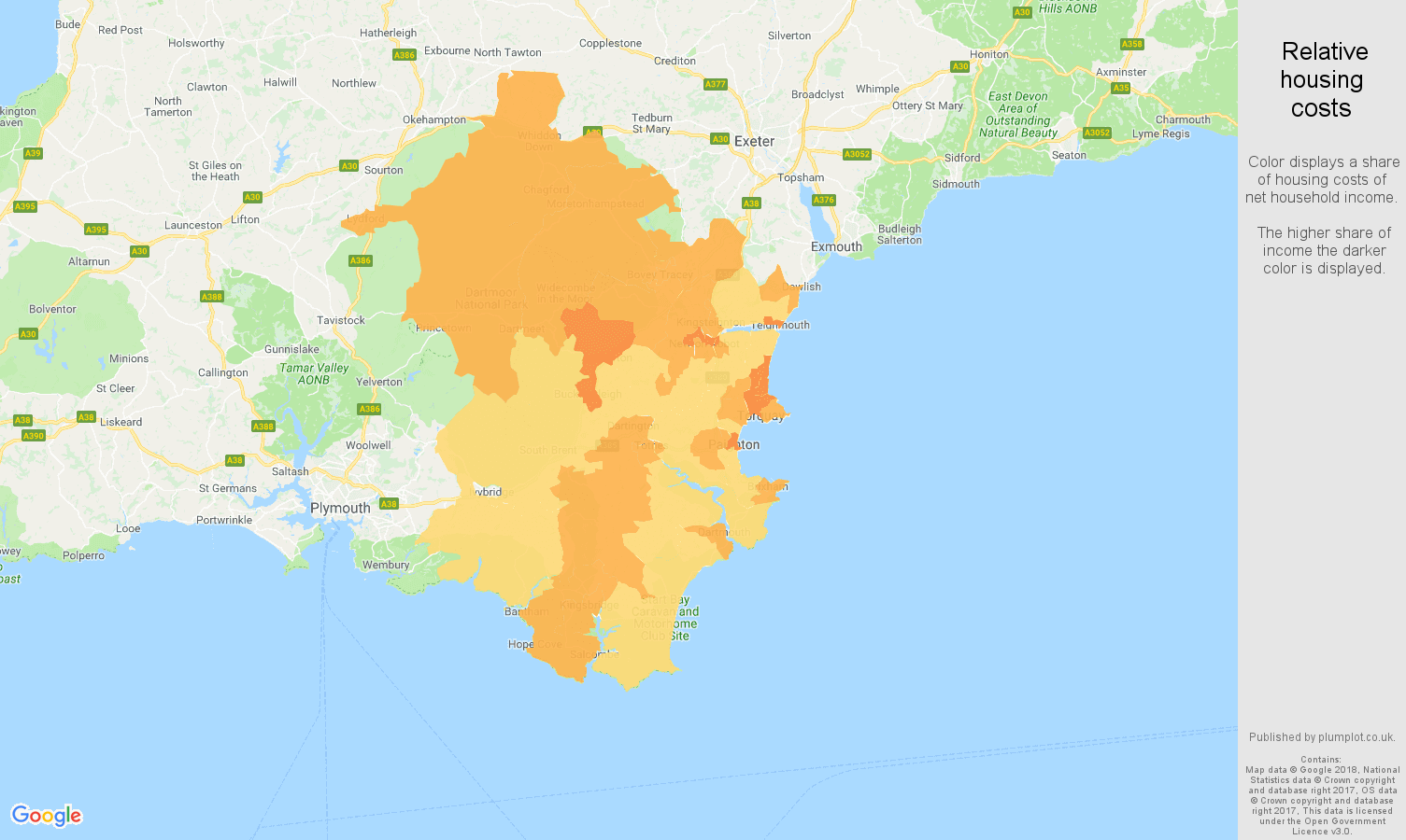 Torquay relative housing costs map