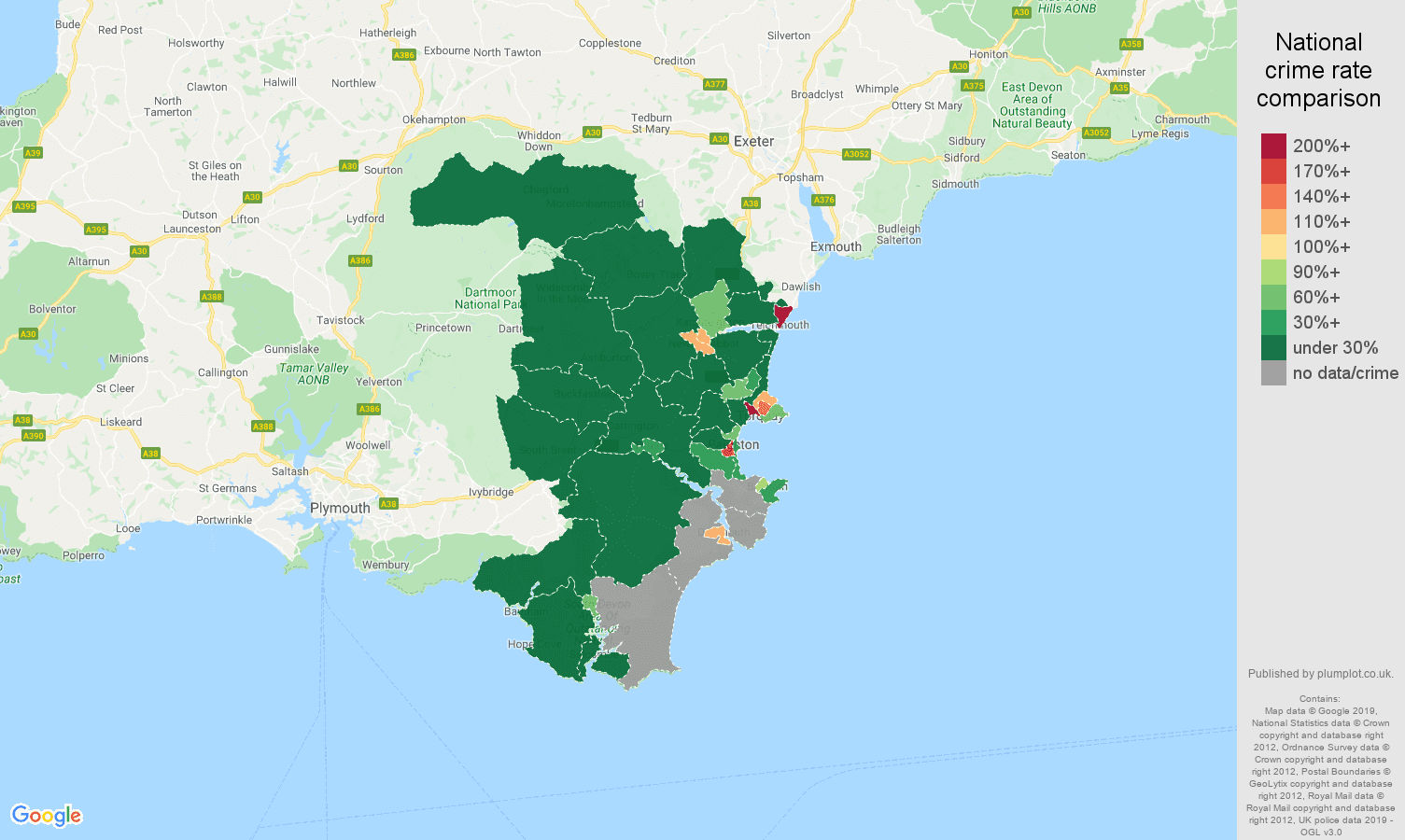Torquay shoplifting crime rate comparison map