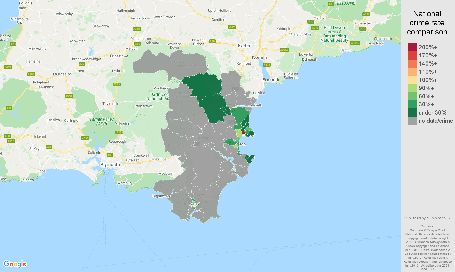 Torquay theft from the person crime rate comparison map