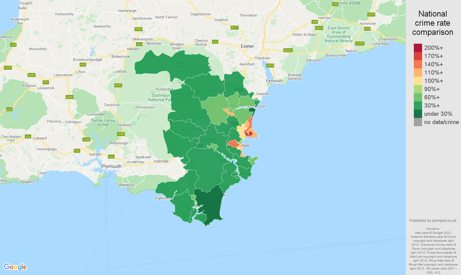 Torquay violent crime rate comparison map