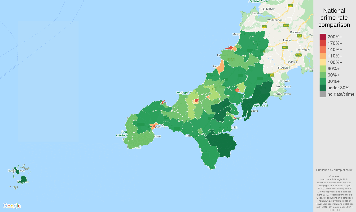 Truro antisocial behaviour crime rate comparison map