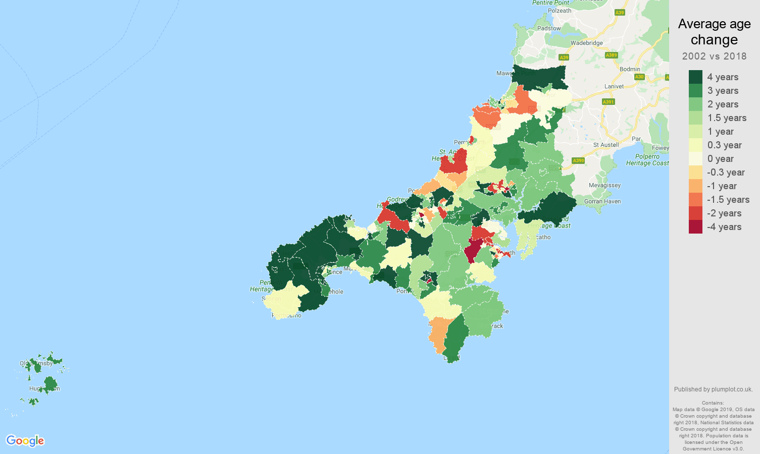 Truro average age change map