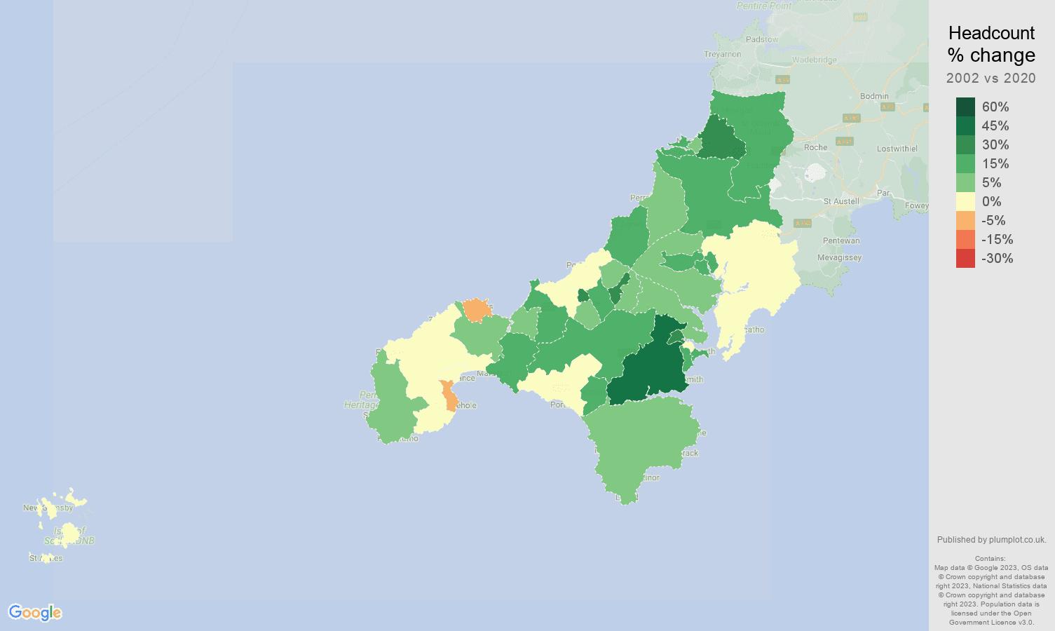 Truro headcount change map