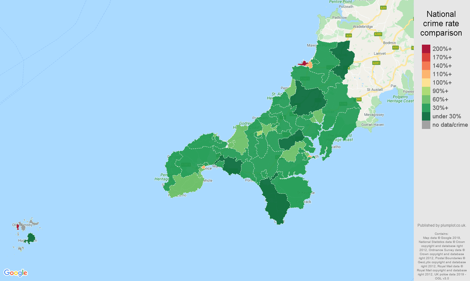 Truro other theft crime rate comparison map