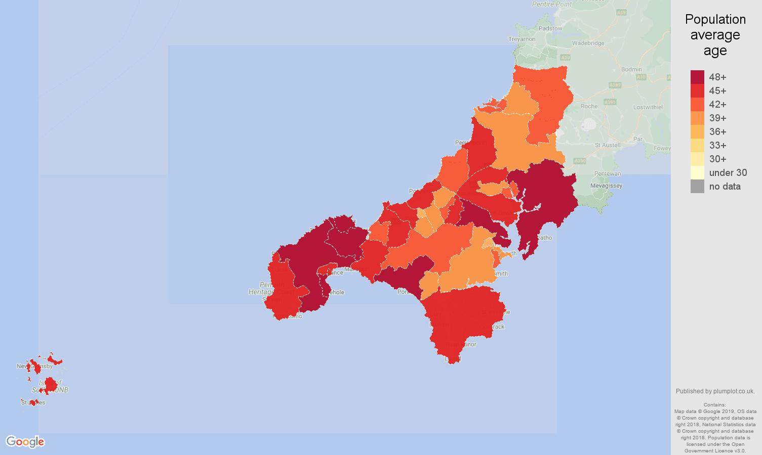 Truro population average age map