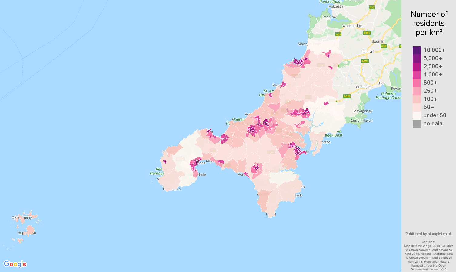 Truro population density map