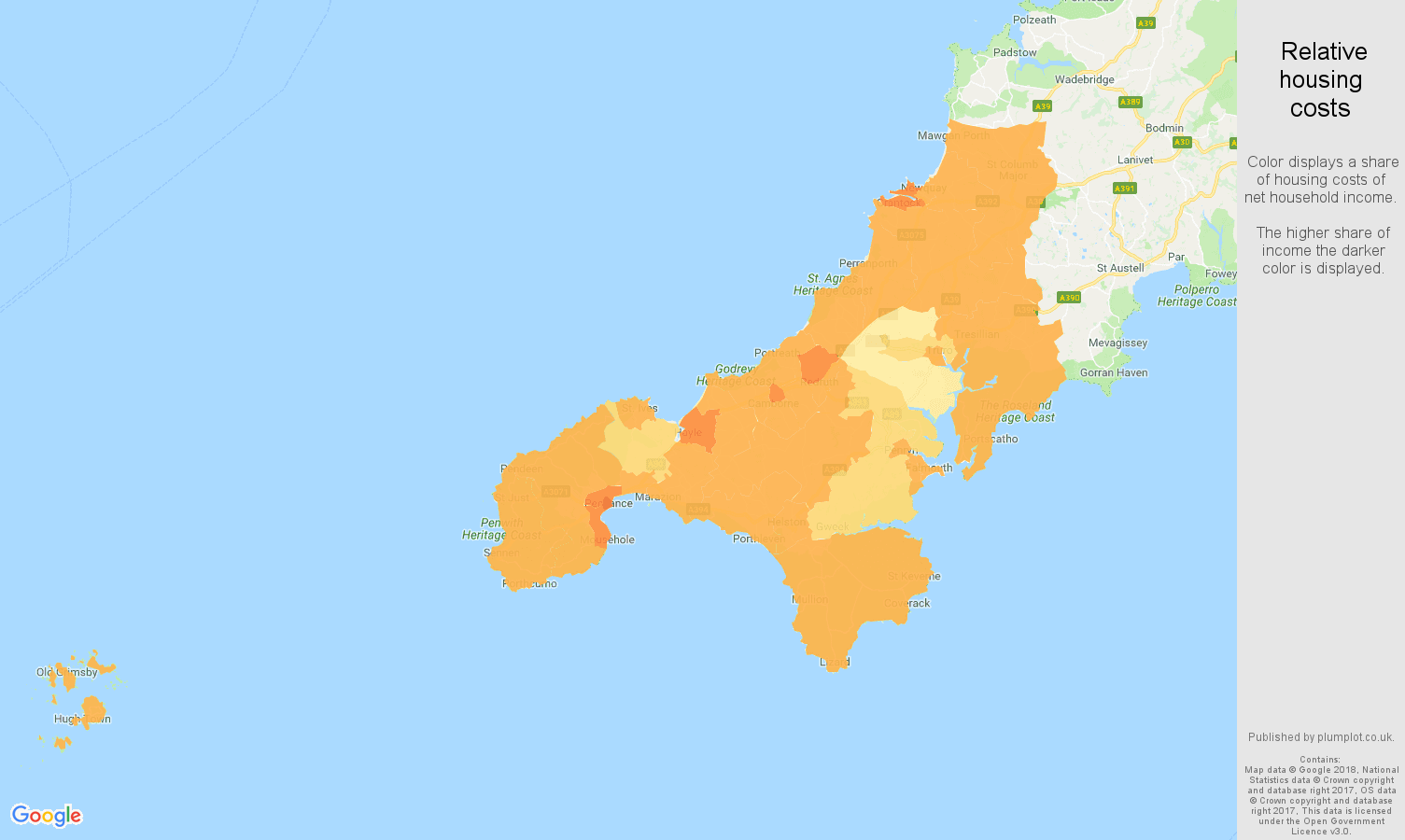 Truro relative housing costs map