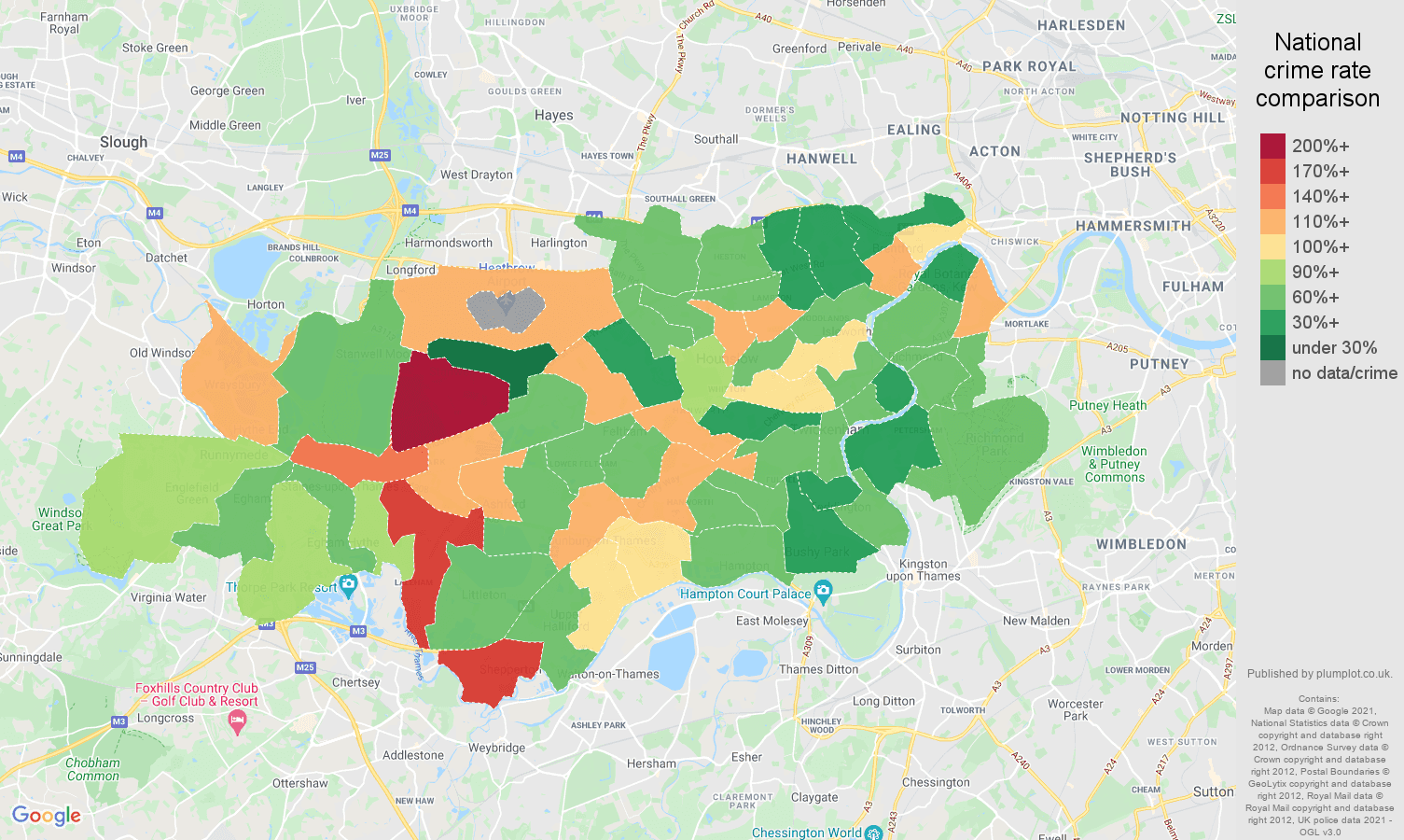Twickenham criminal damage and arson crime rate comparison map