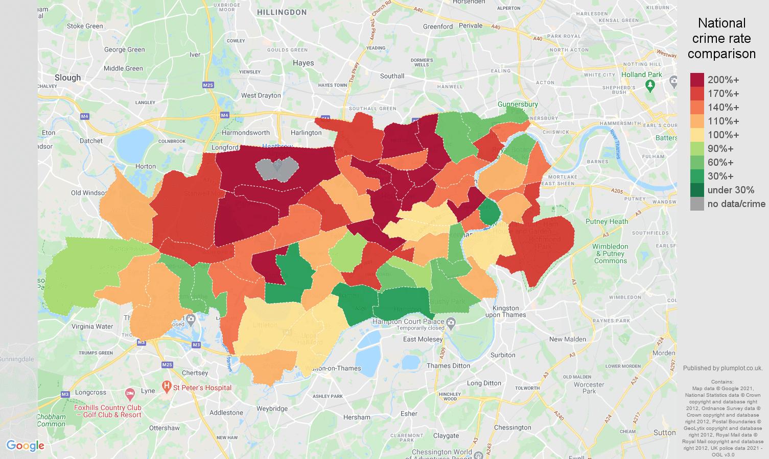 Twickenham drugs crime rate comparison map