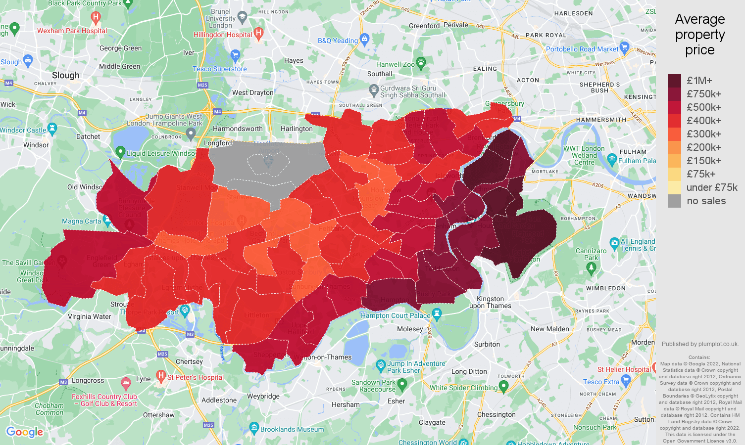Twickenham house prices map