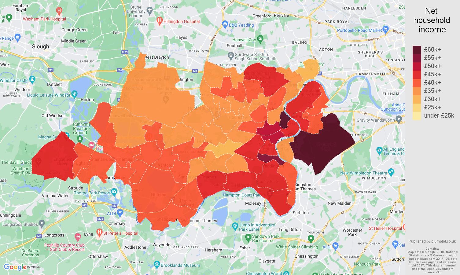Twickenham net household income map