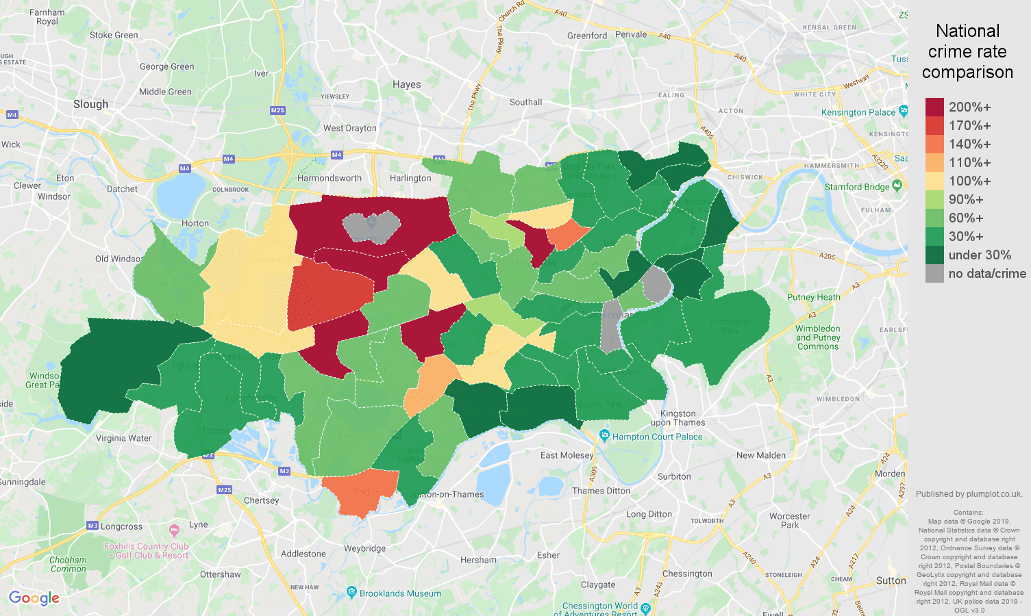 Twickenham other crime rate comparison map