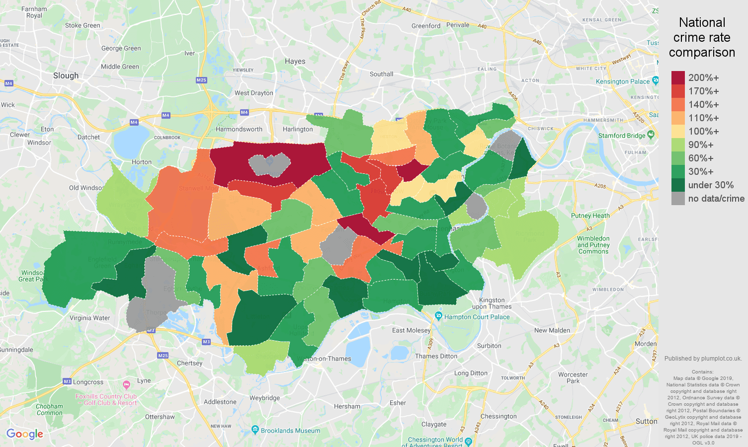 Twickenham possession of weapons crime rate comparison map