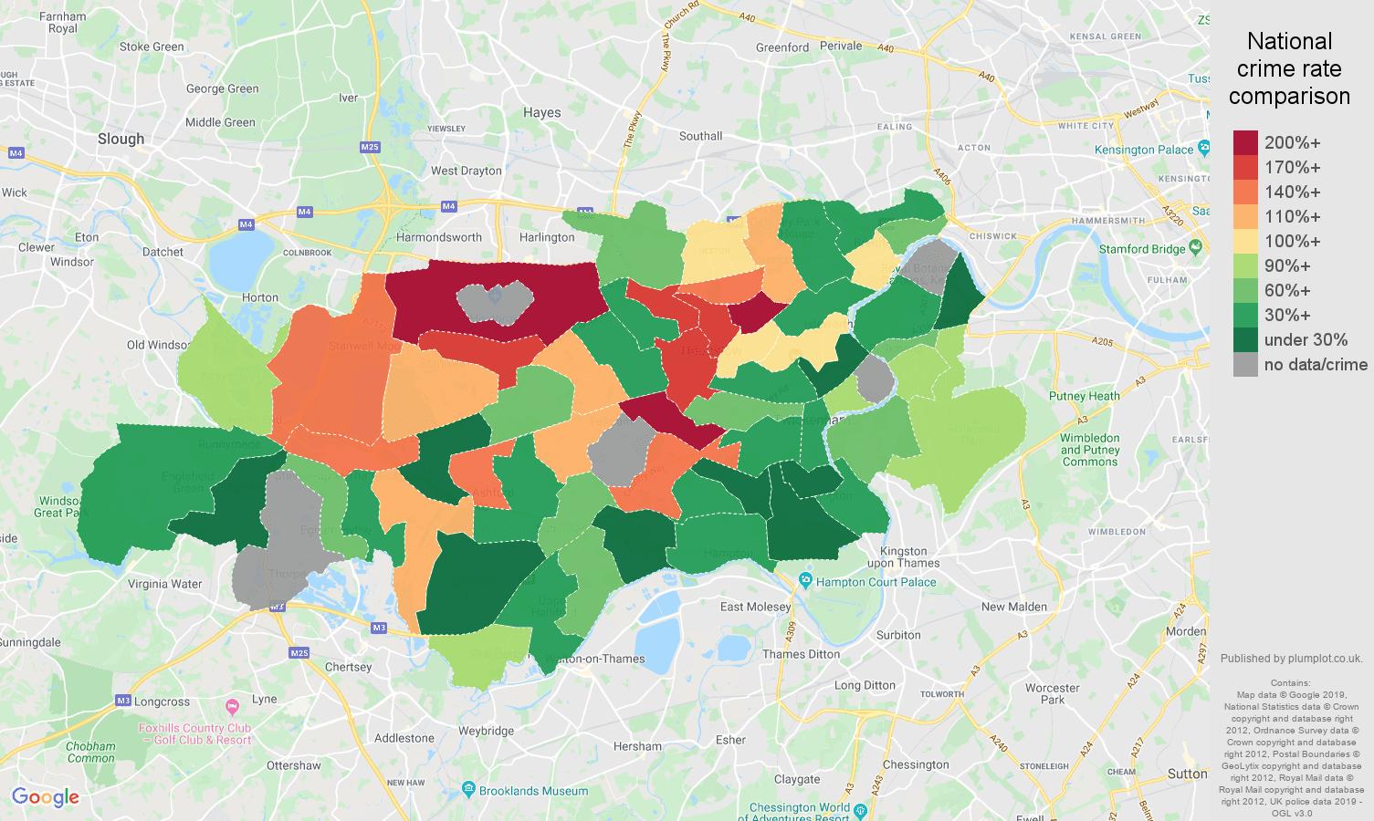 Twickenham possession of weapons crime rate comparison map