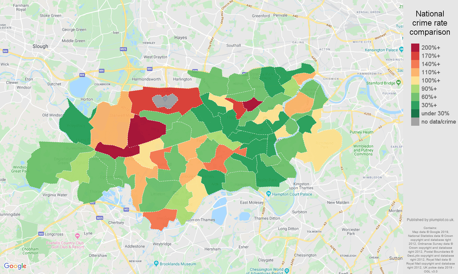 Twickenham public order crime rate comparison map