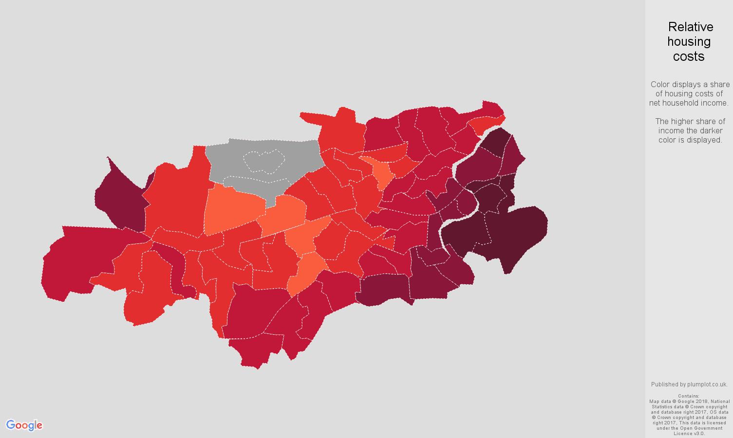 Twickenham relative housing costs map